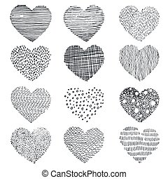 textured doodle hearts - set of abstract textured doodle...