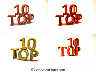Inscription of Top 10 set of pictures 3D illustration - 3D...