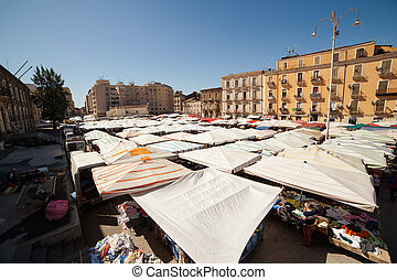 View of open market called fera ò Luni, Catania - View of...