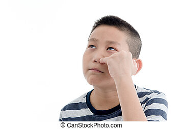 Asian boy Picking a booger on white background.
