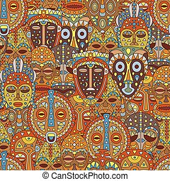 Seamless pattern. Background with different ethnic masks....