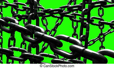 Old Chains Abstract On Green Chroma Key.