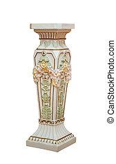 Large Antique ceramic Floor Vase Isolated on White background