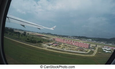 Aircraft on takeoff - View from airplane takeoff aircraft