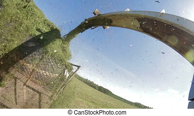POV Farmer Combain harvesting in field - Point of view...