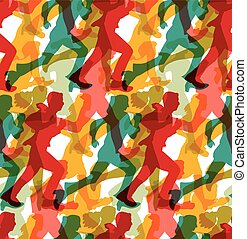 Color crowd people business run carrier seamless pattern.