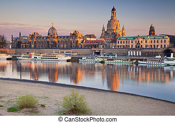 Dresden. - Image of Dresden, Germany during sunset with Elbe...