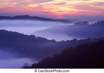 Auxier Ridge - Sunrise showing the layed mountains off...