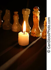 Chess And Candle - Set of chess pieces made from onyx...