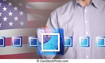 Male hand touching a vote checkbox on USA flag background