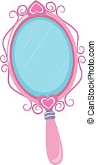 Vintage Pink Hand Mirror - Vector Illustration of Vintage...