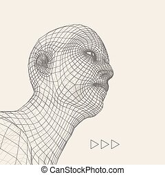 Head of the Person from a 3d Grid. Human Head Wire Model -...
