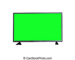 TV with green screen isolated on white background