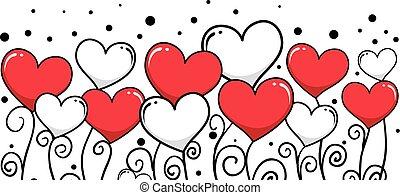 Heart Vine Background - Vector Illustration of Heart Vine...