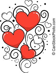 Valentines Day Background Vine - Vector Illustration of...
