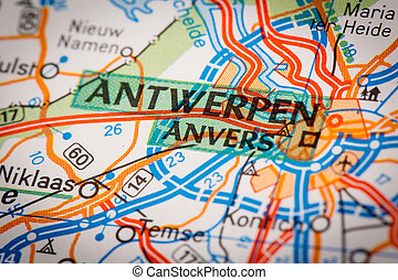 Antwerpen City on a Road Map - Map Photography: Antwerpen...