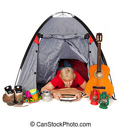 Reading on the camping