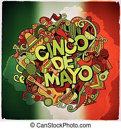 Cinco de Mayo colorful festive message Cartoon vector hand...