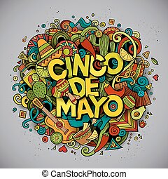 Cinco de Mayo. Cartoon vector hand drawn Doodle illustration...