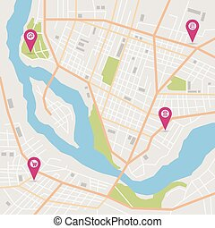 Vector city map - Vector flat abstract city map with pin...