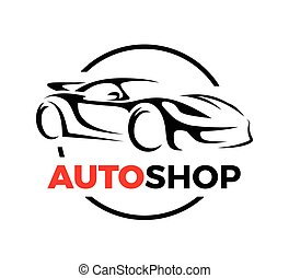 Concept design of a super sports vehicle car auto shop logo...