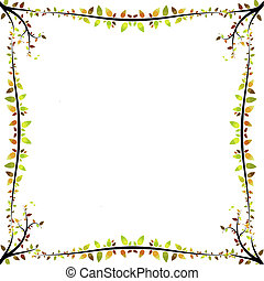 autumn border with autumnal leaves and branches in vector...