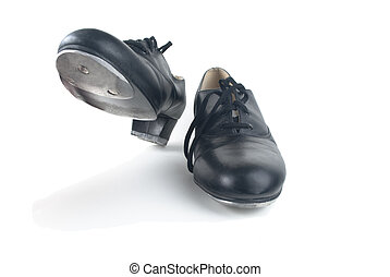 Dancing Tap Shoes - A pair of used black tap shoes with...