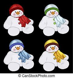 colourful snowmen