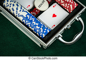 Red Dice Game Cards and Money Chips