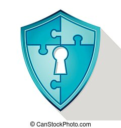 Security puzzle flat icon with shield and key hall, vector