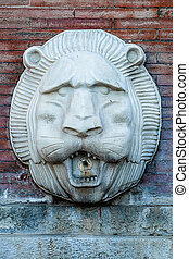 lion-head fountain - One lion-head fountain, Naples - Italy