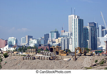 toronto high-rise building construction site urban landscape...