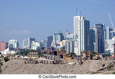 toronto high-rise building construction site urban landscape...