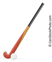 field hockey stick and ball vector illustration - field...