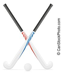 field hockey sport equipment vector illustration isolated on...