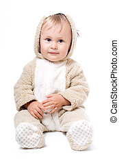 Cute little child - Cute baby in plush costume, isolated...