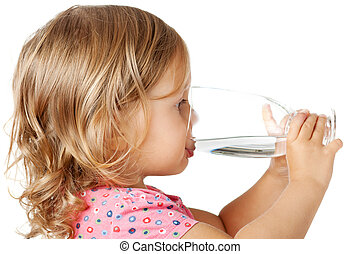 child drinking water - Little child drinking water isolated...