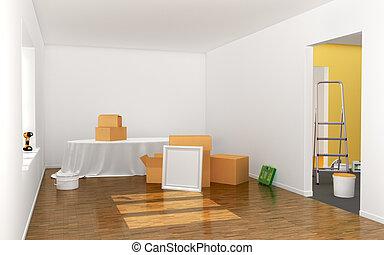 Cardboard box, room