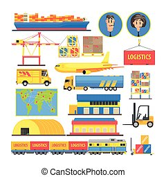 Logistic Elements Colorful Infographic - Logistic Flat...