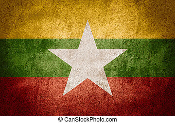flag of Burma or Burmese banner on rough pattern background,...
