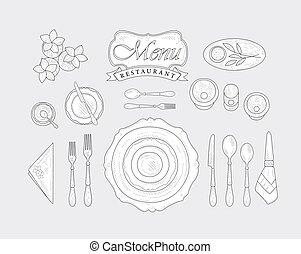 Restaurant Table Appointment Vintage Vector Hand Drawn...