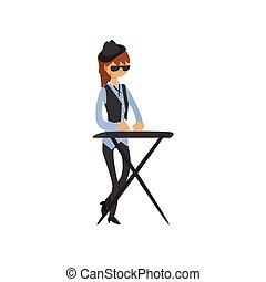 Keyboard Player Vector Illustration In Primitive Cartoon...