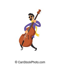 Double Bass Player Vector Illustration In Primitive Cartoon...