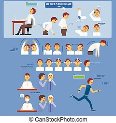 Office Syndrome Infographics Fun Flat Vector Illustration In...