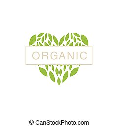 Heart With Text In Middle Organic Product Logo Cool Flat...