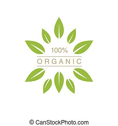 Organic Product Logo With Spiky Leaves Cool Flat Vector...