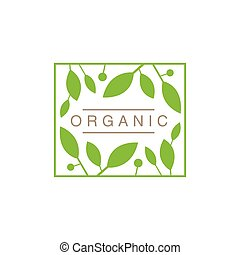 Frame With Leaves And Fruit Organic Product Logo Cool Flat...