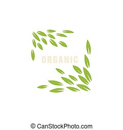 Leaf Frame Without Border Organic Product Logo Cool Flat...
