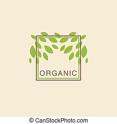 Double Frame With Leaves From Above Organic Product Logo...