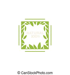 Double Frame With Leaves Inside Organic Product Logo Cool...